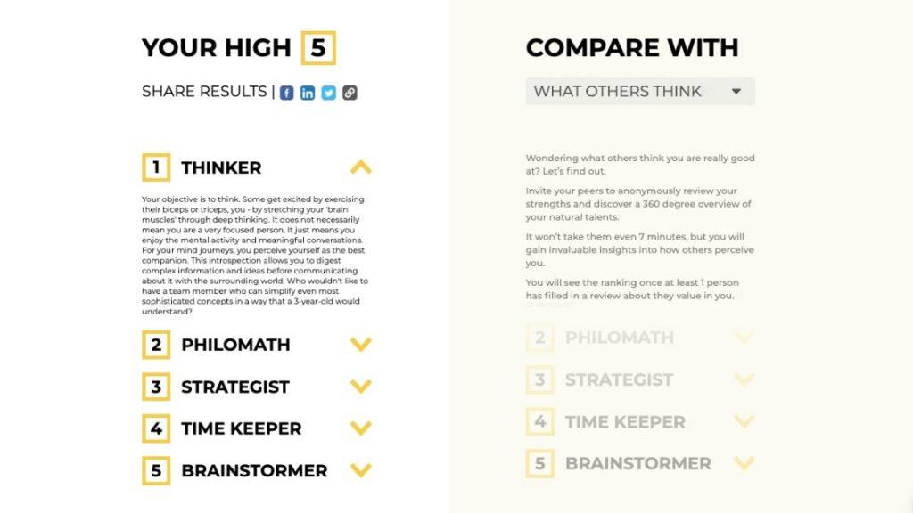 Test talentów za darmo - High 5 wyniki