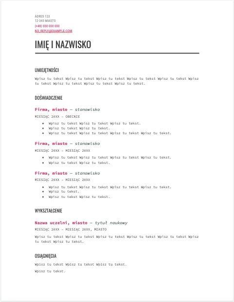 Szablon CV - motyw nowoczesny