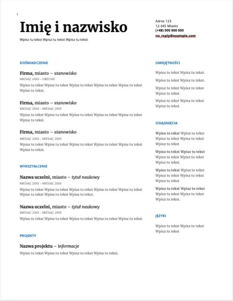 Szablon CV - motyw szeryfowy